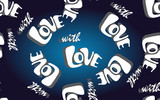 Vector seamless pattern with sign with LOVE on a dark blue background.