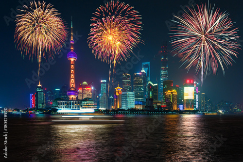 Foto op Canvas Shanghai Fireworks in Shanghai, China celebration National Day of the People's Republic of China.