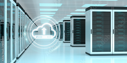 Cloud icon downloading datas in server room center 3D rendering - 180331917