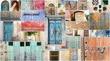 Archaic colorful beautiful gates / collage of entry doors :) - 180333149