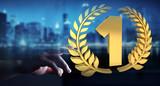 Businesswoman winning the first golden price 3D rendering - 180333598
