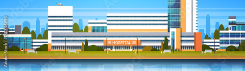 Hospital Building Exterior Modern Clinic View Horiozontal Banner Flat Vector Illustration