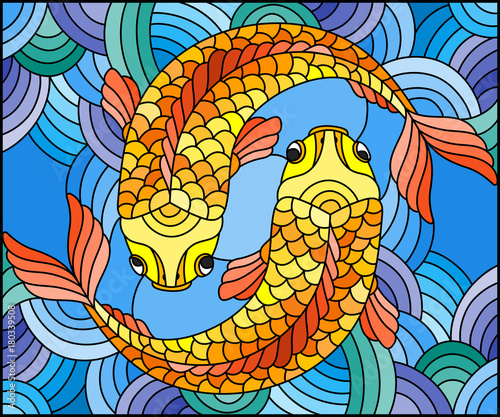 illustration-in-stained-glass-style-with-a-pair-of-gold-fish-on-water-background