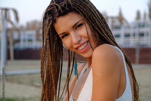 Foto op Canvas Kapsalon Portrait of attractive asian model girl with braided hairstyle.