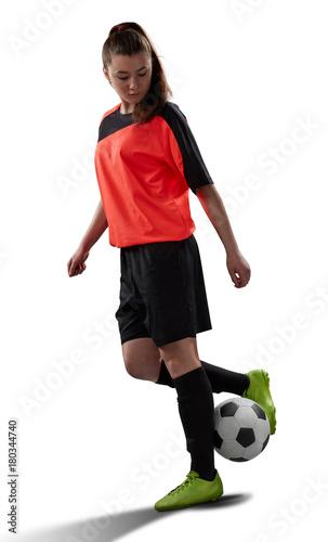Plexiglas Voetbal female soccer player isolated on white
