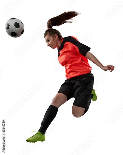Fotobehang Voetbal female soccer player isolated on white