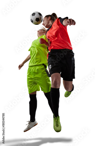 Fotobehang Voetbal female soccer players in air scrimmage isolated