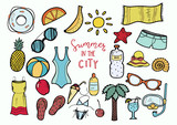 Set of vector hand drawn color summer.