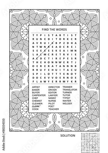 Puzzle and coloring activity page for grown-ups with jobs, occupations themed word search puzzle (English) and wide decorative frame to color. Family friendly. Answer included.