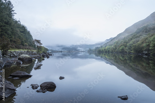 Fotobehang Wit Landscape of Llyn Crafnant during foggy Autumn morning in Snowdonia National Park