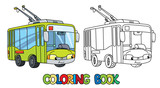 Funny small Trolleybus with eyes. Coloring book