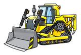Funny small bulldozer with eyes