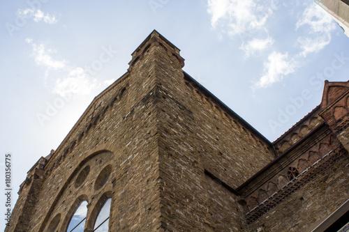 Aluminium Florence FIRENZE, ITALIA - LUGLIO 25, 2017: dettaglio della architettura esterna della Basilica di Santa Maria Novella - Toscana