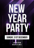New year party poster vector with stars.