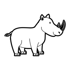 Cute rhino cartoon icon vector illustration graphic design