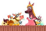 Funny farm animals smiling near the fence