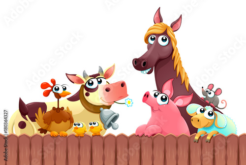 Papiers peints Chambre d enfant Funny farm animals smiling near the fence