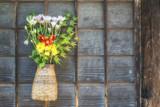 Autumnal Japanese flower arrangement. Ikebana.