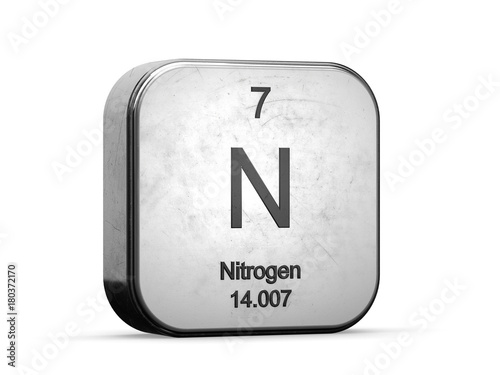 Nitrogen Element From The Periodic Table Metallic Icon 3d Rendered