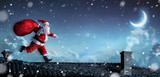 Santa Claus Running On The Rooftops - 180376990