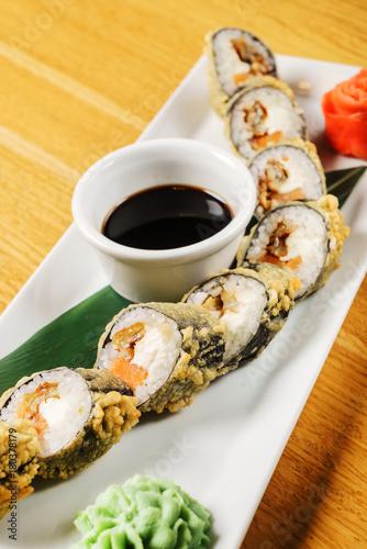 Aluminium Sushi bar sushi with soy sauce
