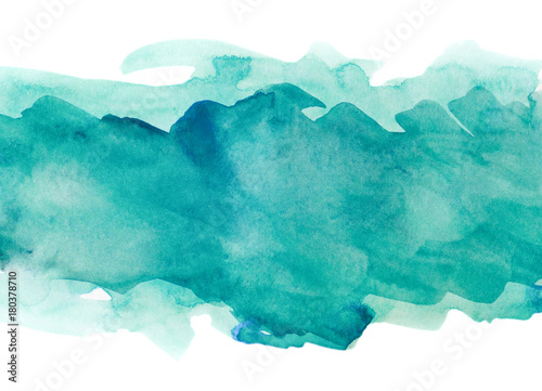 Obraz na płótnie Aquamarine watercolor strip multilayered