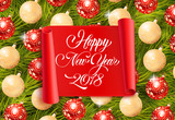 Happy New Year 2018 lettering on scroll - 180381798
