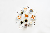 White background with different types of coffee - 180382552