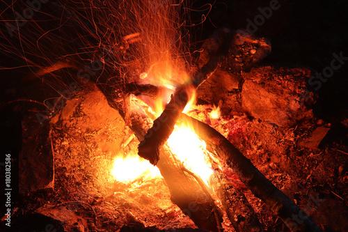 Fotobehang Abstractie Camp fire - fie and flames - long exposure