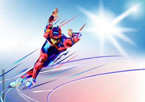 ilustracji-wektorowych-niebieskie-tlo-w-geometrycznym-trojkacie-stylu-xxiii-zimowe-gry-olympic-sportowiec-speedskater-lyzwiarstwo-szybkie-lodowisko-arena-z-trojkata-sylwetke
