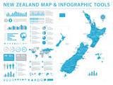 New Zealand Map - Info Graphic Vector Illustration - 180387517