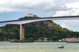 Convento da Penha e Terceira Ponte vistos da Ilha do Boi, Vitória, Espírito Santo, Brasil. - 180391511