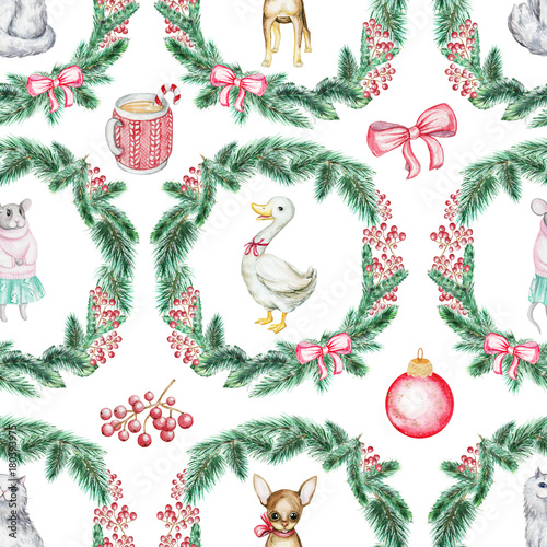 Cotton fabric Christmas seamless background pattern with pets