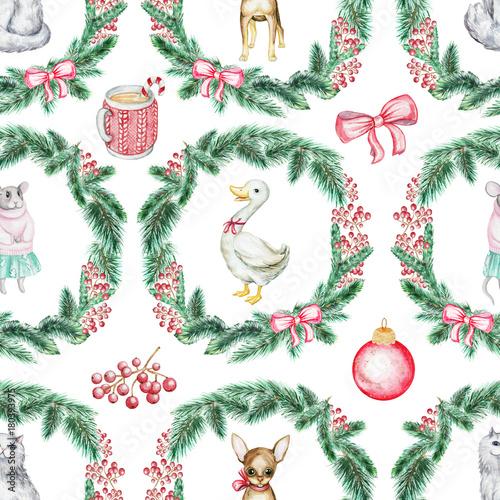 Materiał do szycia Christmas seamless background pattern with pets