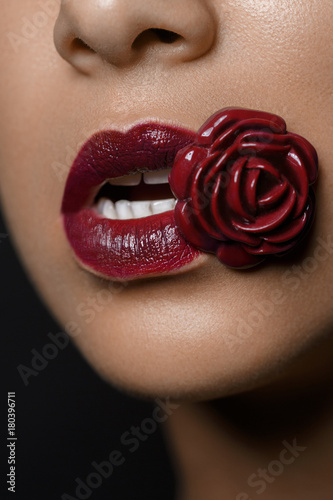 beautiful woman lips closeup Plakat