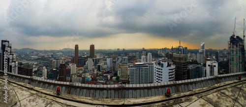Poster Kuala Lumpur Kuala Lumpur Malaysia Panorama City from Helipad during Sunset
