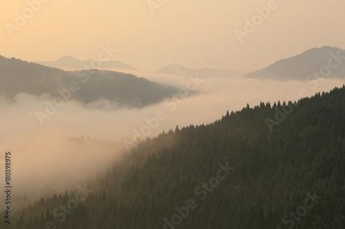 Foto op Plexiglas Beige 夜明けの最上峡を流れる霧の川(山形県戸沢村)