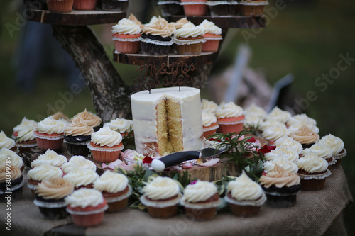 Fotobehang Sushi bar Rustic Themed Wedding Cake and Cupcakes on a Wooden Cake Stand