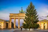 Brandenburg gate and christmas tree in Berlin, Germany