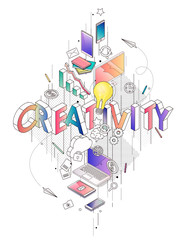Isometric concept with thin line letters, typography word creativity © maverick_infanta