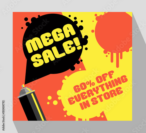 Retro Sale Banner Template With Spray Paint Can And Paint Spots For