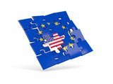 Puzzle flag of european union and flag of USA - 180405516
