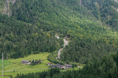 Foto op Canvas Pistache Landscape Alps mountain view at valley from high. Tirol, Austria.