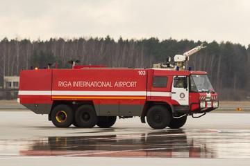 RIGA, LATVIA - NOVEMBER 11 2017: Modern fire truck at the airport Fire Department in Riga International Airport