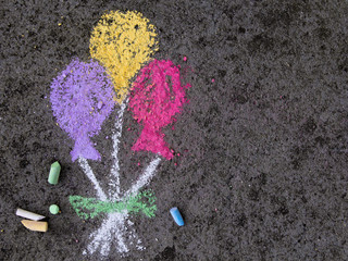 Colorful chalk drawing: party balloons