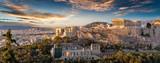 Panorama der Akropolis von Athen, Griechenland, bei Sonnenuntergang  - 180420901