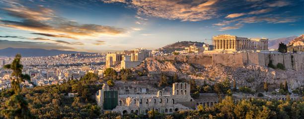 Panorama der Akropolis von Athen, Griechenland, bei Sonnenuntergang  © moofushi