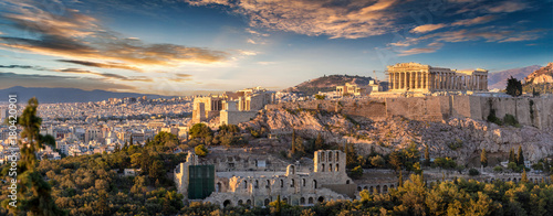 Panorama der Akropolis von Athen, Griechenland, bei Sonnenuntergang