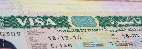 Foto op Canvas Marokko Morocco Visa on the Passport