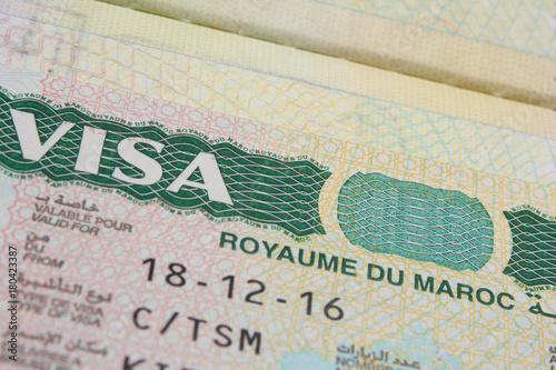 Fotobehang Marokko Morocco Visa on the Passport